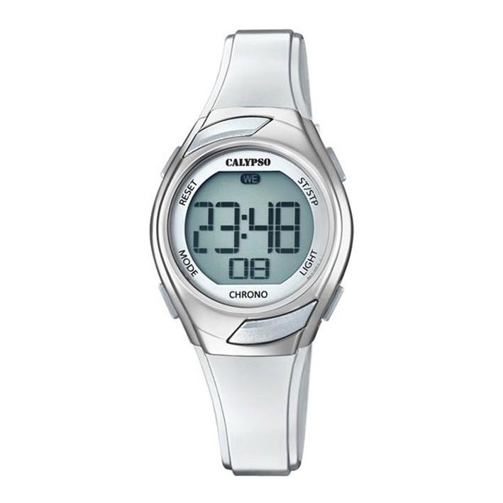 b7970e8a3055 Calypso mujer o niña digital correa silicona K5738 1 reloj en color blanco