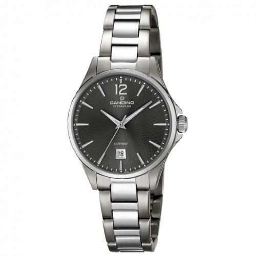 Titanium Women's Watch Candino C4608/3 gray dial sapphire crystal date indicator
