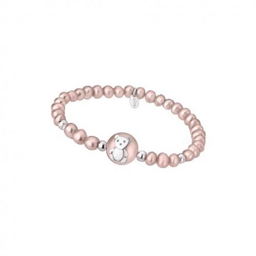 Teddy Bear bracelet with pink pearl LP1600-2/2 Lotus Silver