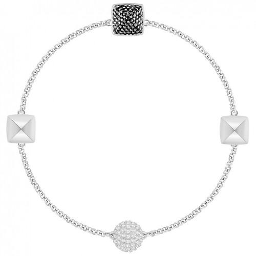 Remix rhodium bracelet with black and transparent stones 5365762