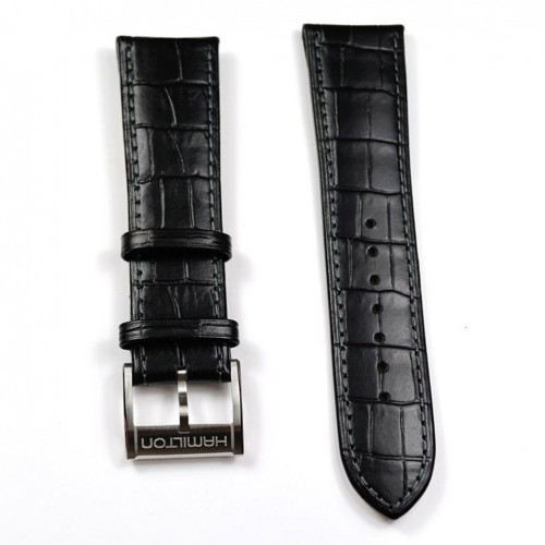 Black leather belt Chronometer Hamilton Jazzmaster Maestro Automatic Buckle H600327102 H32716833