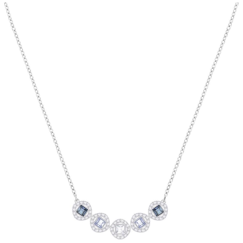 61e6fd69911 Collar Swarovski Angelic Square 5294622 piedras azules chapado en rodio