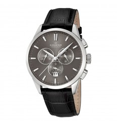 Candino chronograph watch man gray dial black leather strap C4517/2