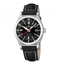 Automatic watch Candino man black dial black leather strap C4441/5