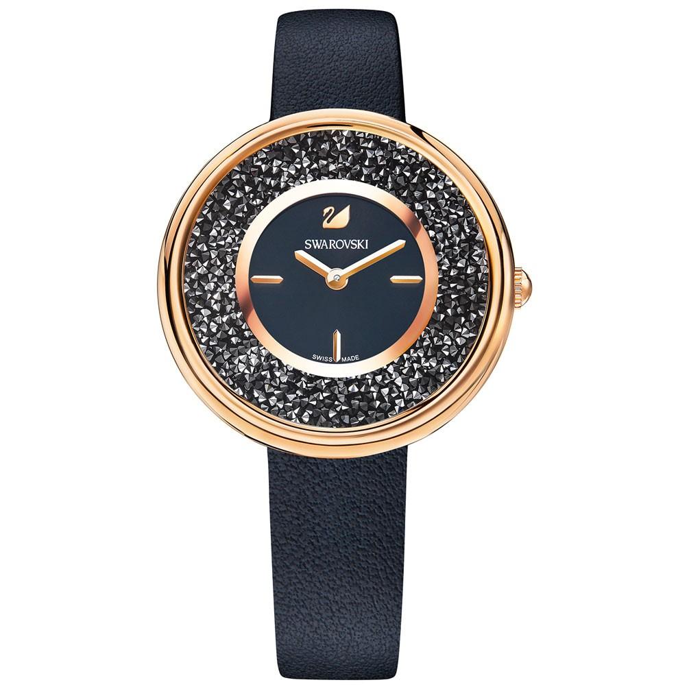 8c9e2c0a74c9 Reloj Swarovski Crystalline 5275043 correa color negro PVD oro rosa