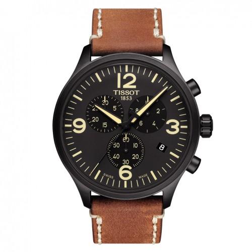 Tissot Chrono XL Watch T1166173605700 Black dial Leather strap