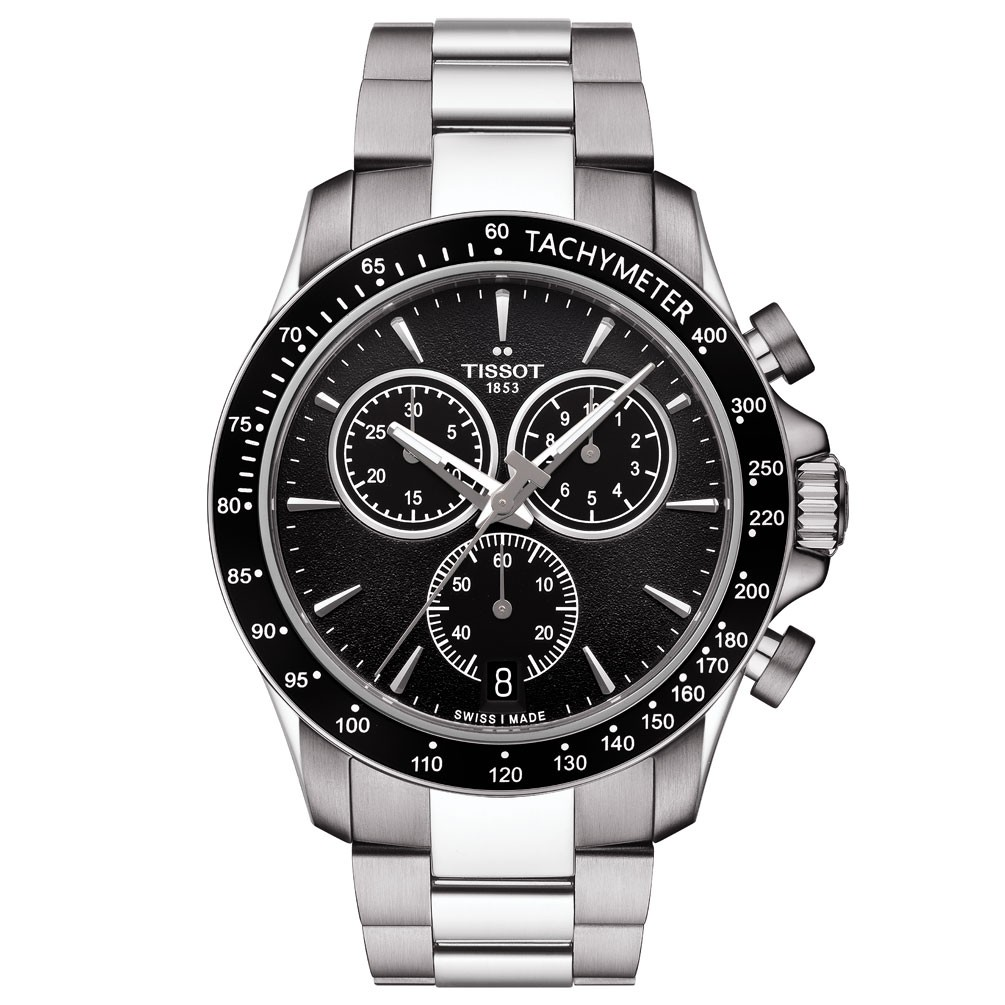 Tissot V8 Quartz Chronograph Watch T1064171105100 Black Dial