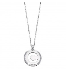 Lotus Silver Pendant in sterling silver letter C with zirconia LP1597-1/C