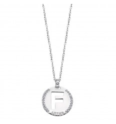 Pendant silver letter F polished with zirconia LP1597-1/F Lotus Silver