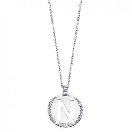 Pendant in silver letter N Lotus Silver polished with zirconia LP1597-1/N