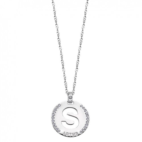 Lotus Silver Pendant in sterling silver letter S with zirconia LP1597-1/S
