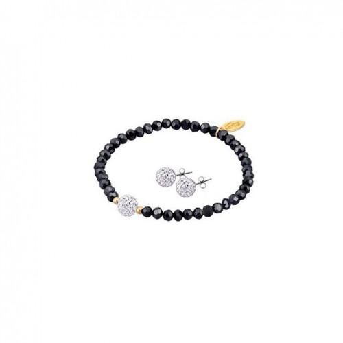 Lotus Silver Bracelet with black stones and earrings set LP1237-2/4