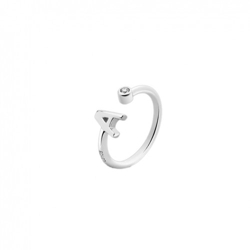 Initial ring letter A with zirconia Lotus Silver LP1692-3/A
