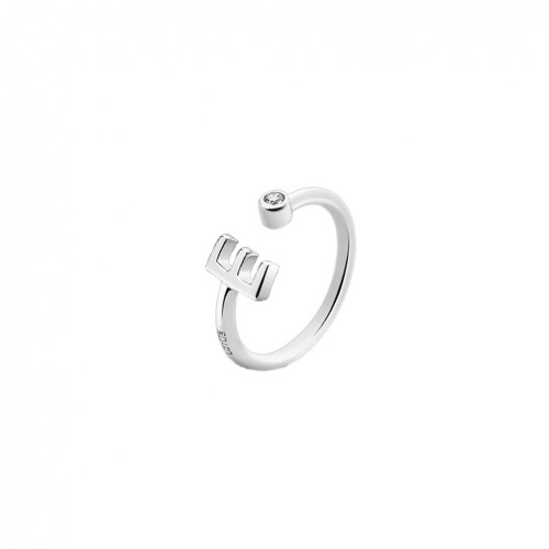 Lotus Silver LP1692-3/E initial ring letter E with zirconia