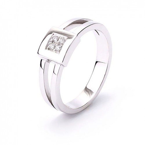 White Gold Ring and four Diamonds AN015