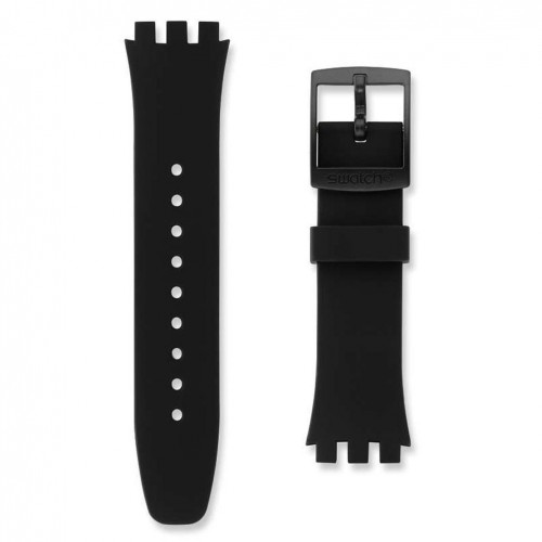Black silicone strap Swatch watch Black Efficiency Chrono Plastic ASUSB400 20mm