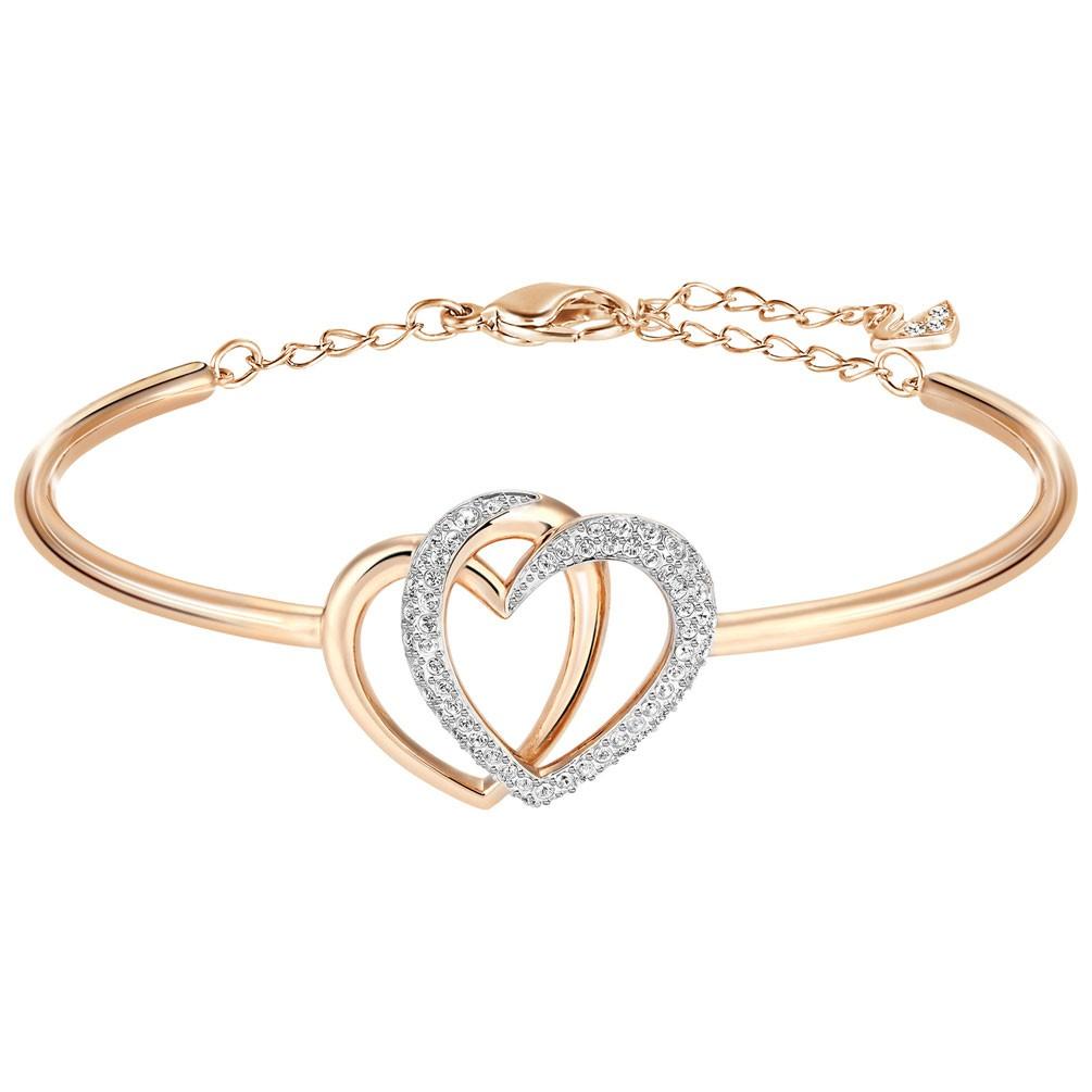 9561b7220b5c Brazalete Swarovski Dear corazones entrelazados y baño oro rosa 5194838