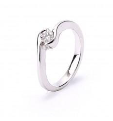 White gold ring 1 diamond brilliant cut engagement polished finish
