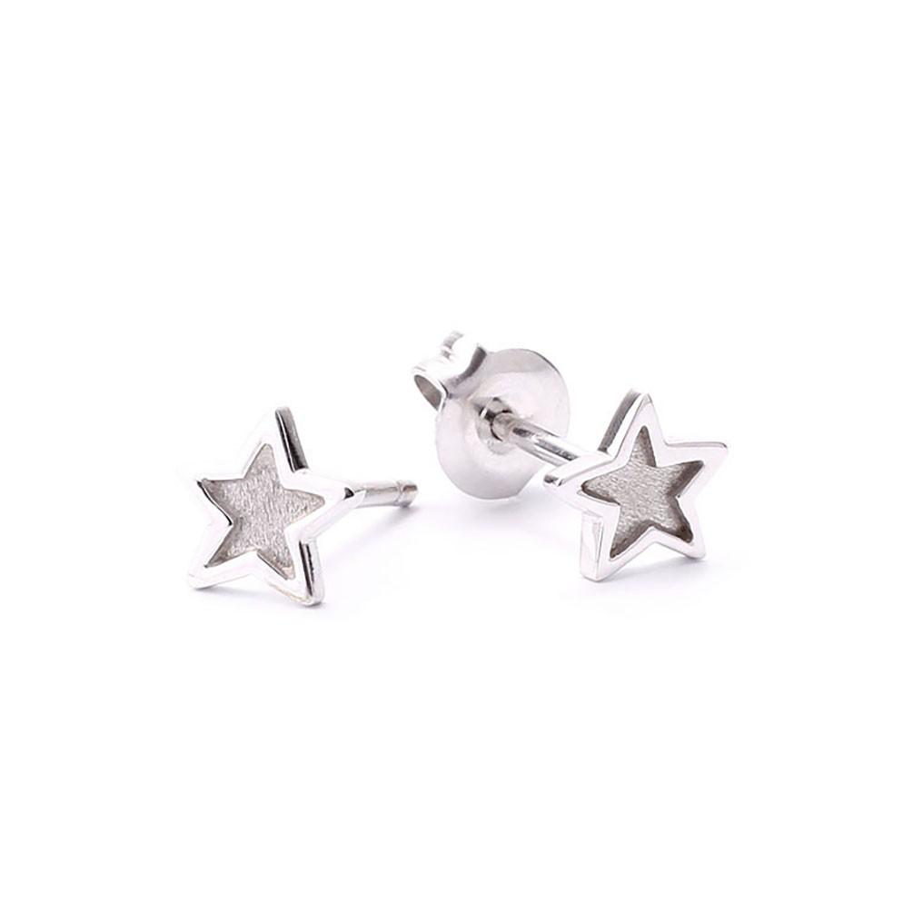 a253f3febb21 Pendientes estrella en oro blanco 18 quilates acabado pulido satinado