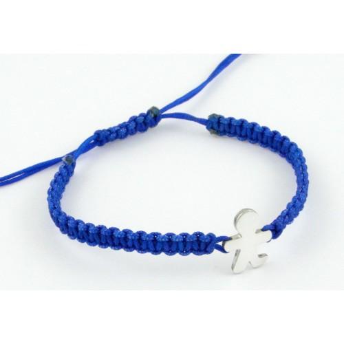 Blue silver bracelet Macrame Inson child BR506IN01