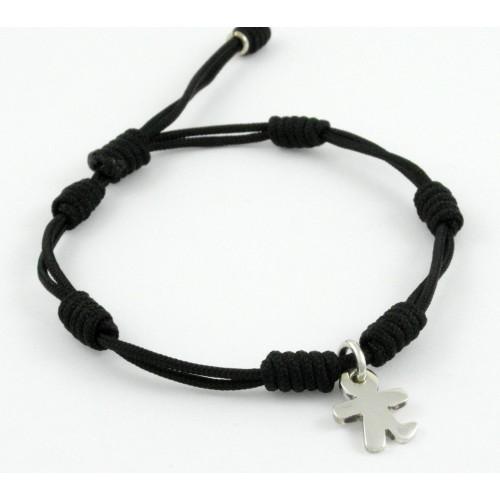 Bracelet silver black knots Inson child BR502IN02