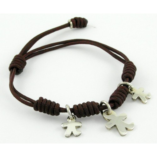 Bracelet silver knots Brown Inson children BR503IN04