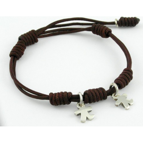 Bracelet silver knots Brown children Inson BR503IN03