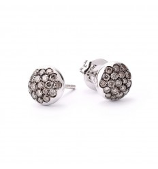 White gold earrings 18 brilliant cut diamonds Brown 0.40 carats