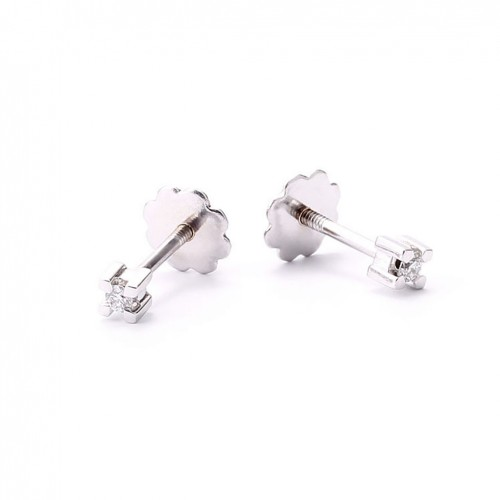 Earrings in 18 carat white gold for baby with diamonds