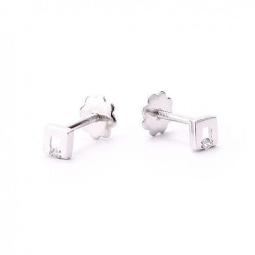 Square earrings for newborn with 2 brilliant cut diamonds