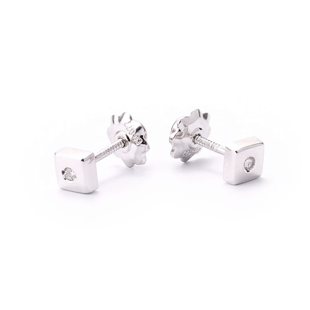 Square Baby Earrings In White Gold And Two Diamonds