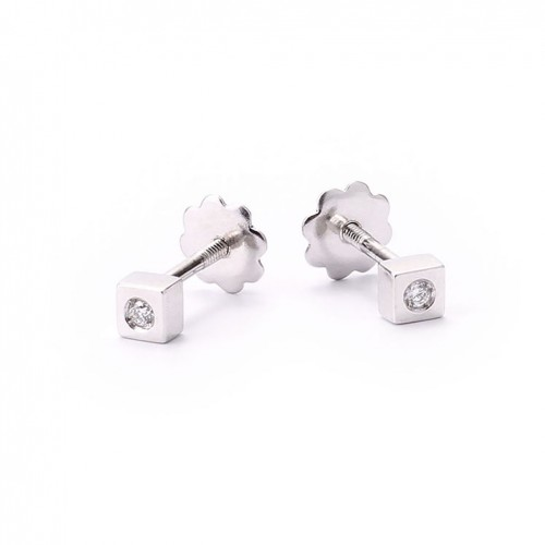 Birth Baby Earrings White Gold and Diamonds 227002OB