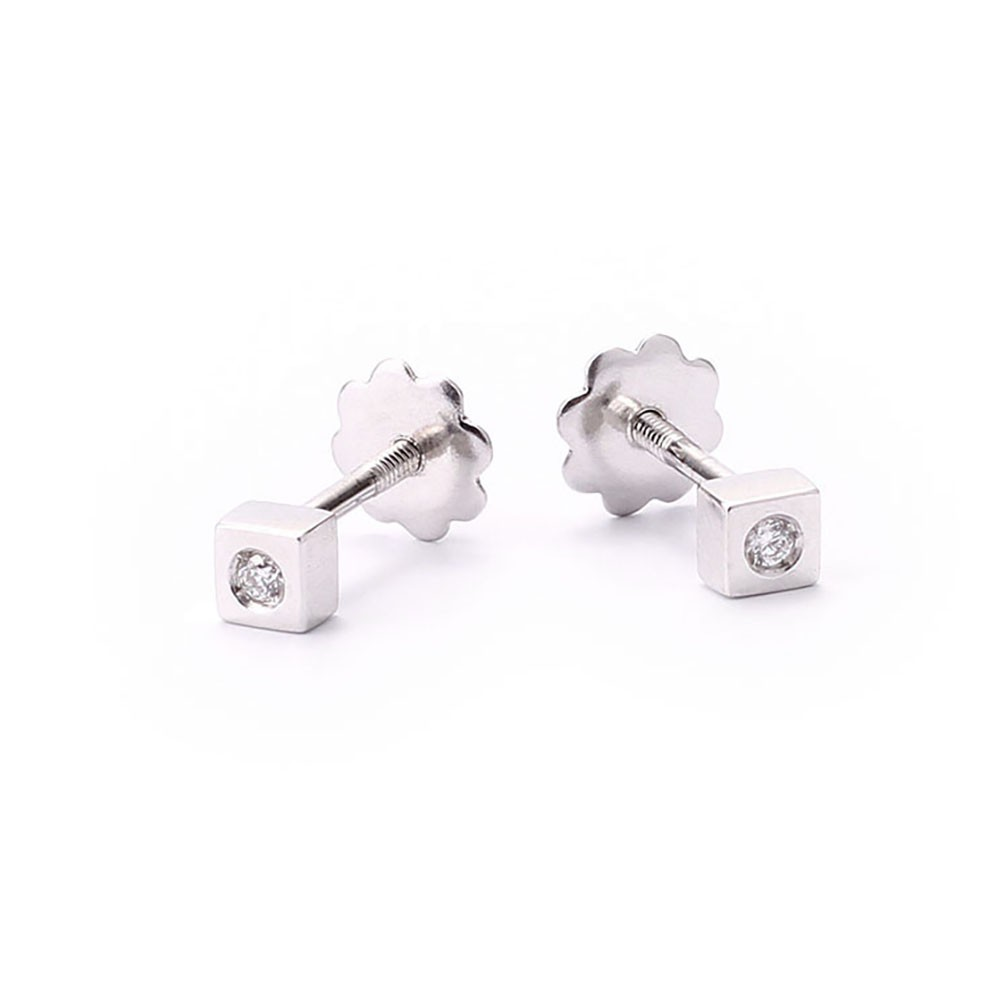 Birth Baby Earrings White Gold And Diamonds 147027aob