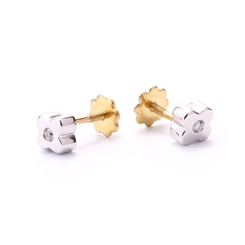 2783725c72ad Pendientes bebé trébol en oro 18 quilates y 2 diamantes talla brillante