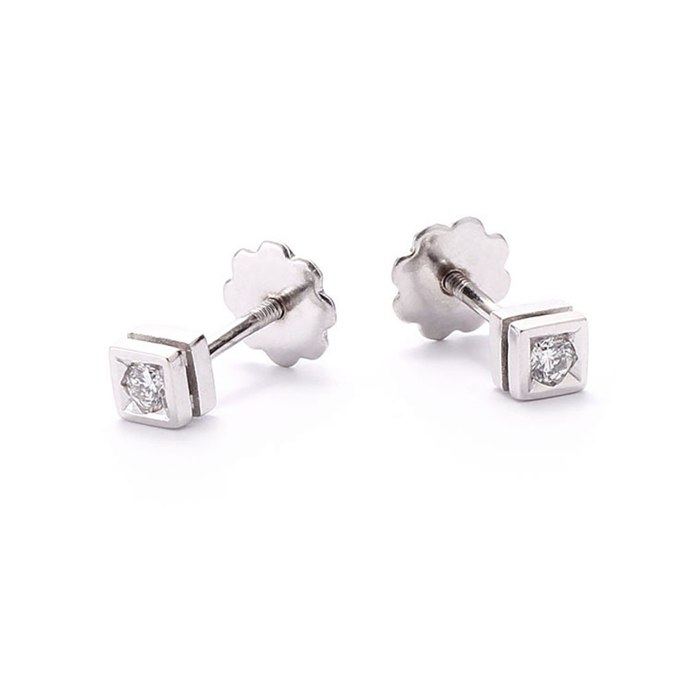 o square round screw stud earrings back shaped gold diamond zoom white
