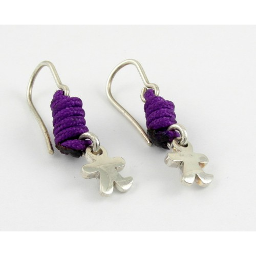 Earrings silver knots lilac child Inson AR504IN05