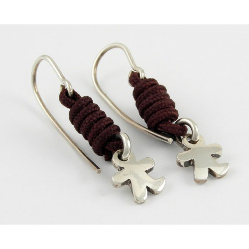 Earrings silver knots Brown child Inson AR503IN05