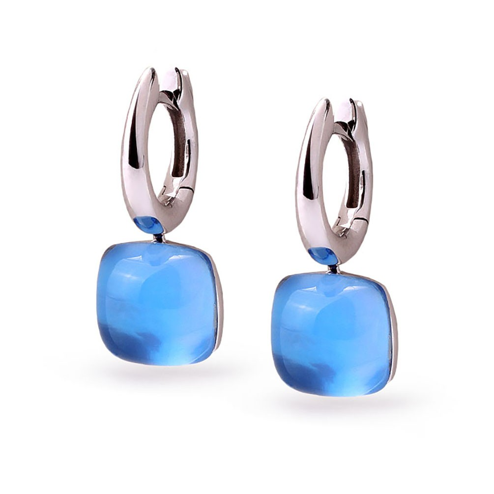 Earrings In 18 Carat White Gold Ring Blue Quartz Type R4057