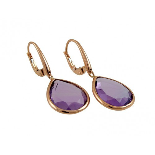 Earrings in rose gold and Amethyst A19-F692B/QA: 03