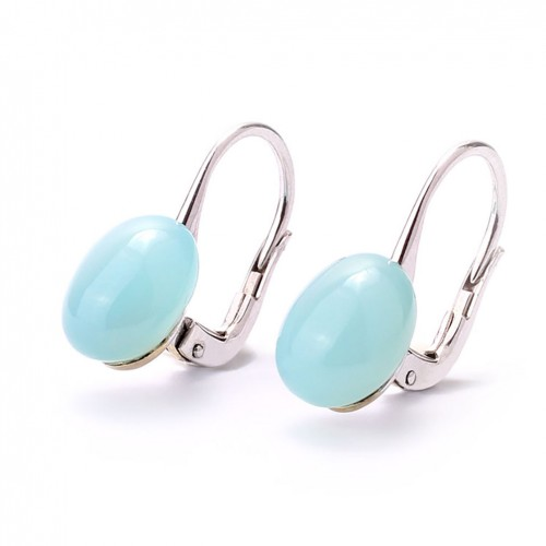 Earrings white gold and blue chalcedony MET/O649/CA: 01