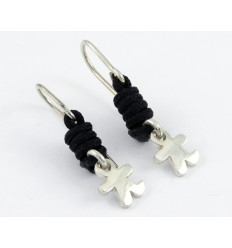 Earrings silver black knots Inson child AR502IN05
