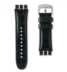 Black leather watch strap Swatch Your Turn Black AYOS440 23mm