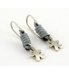 Earrings silver grey knots Inson child AR507IN05