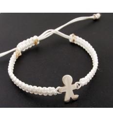 Silver white Macrame bracelet child Inson BR501IN01