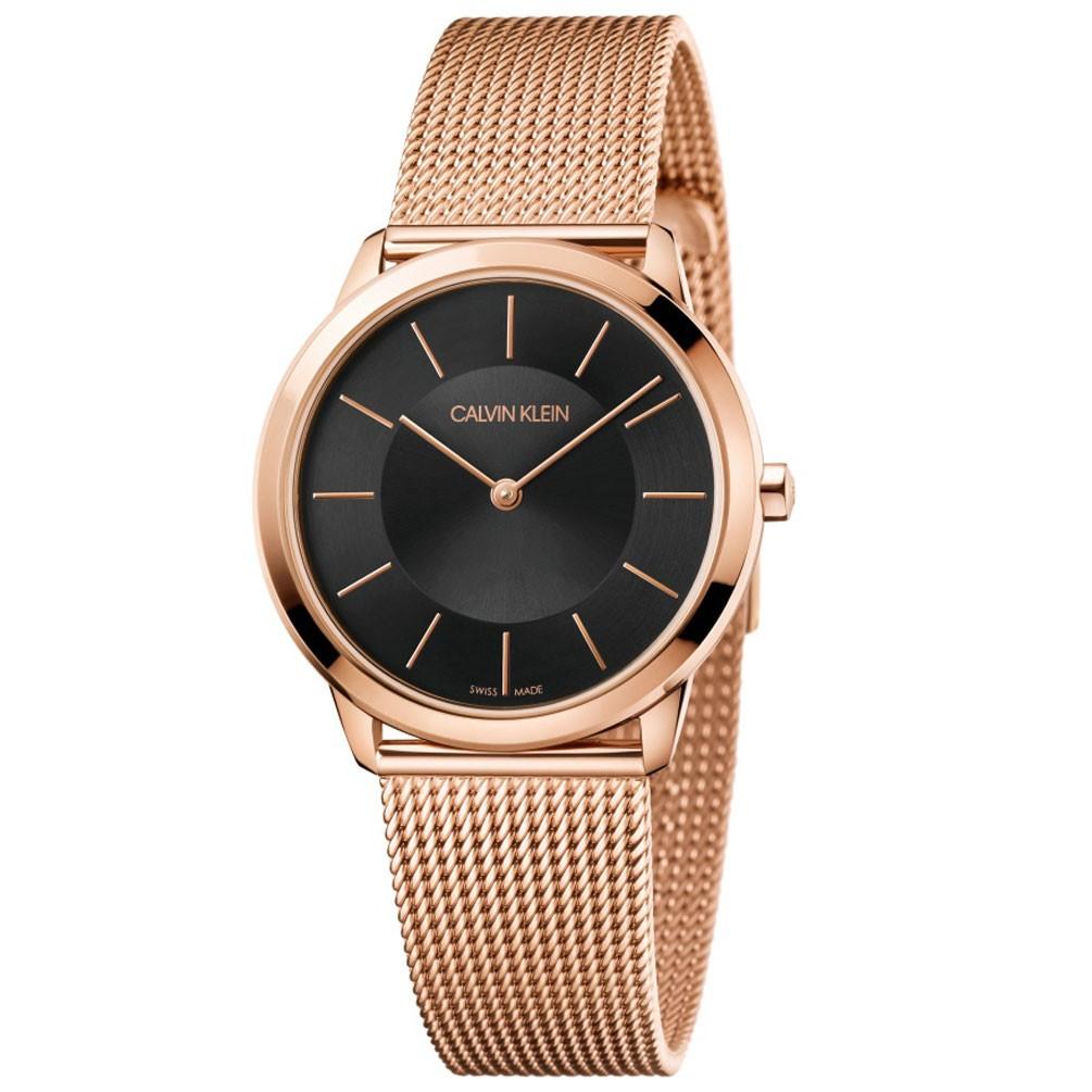39332095e8e0 Reloj Calvin Klein Mujer Minimal K3M2262Y acero oro rosa esfera negra