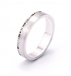 Personalized wedding band with their names in 18 carat white gold