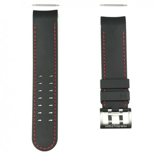 Black Rubber Strap Stitching Red Watch Hamilton Khaki Navy X-Wind Auto H600.776.117