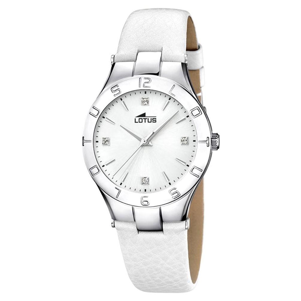 2f79b46c5dfa Reloj Lotus Trendy mujer acero Esfera blanca Correa piel blanca 15899 3