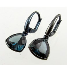 Earrings in white gold and Topaz London Blue A19 - 697 M/LM: 08