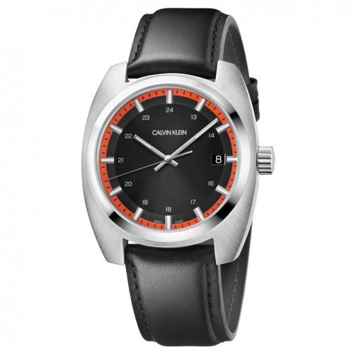 Calvin Klein Achieve watch K8W311C1 black dial black leather strap
